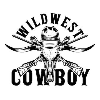 Touro longhorn e chapéu de cowboy do velho oeste