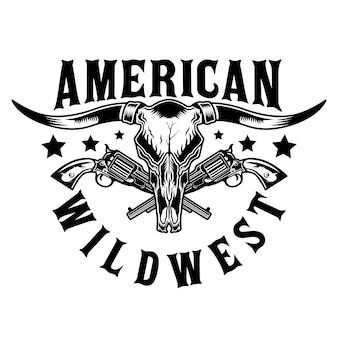 Touro longhorn e pistolas do velho oeste