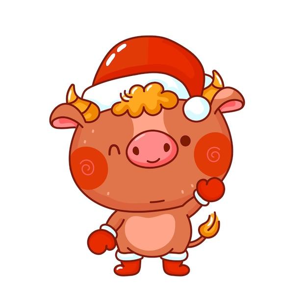 Touro símbolo fofo e engraçado de ano novo em personagem de boné de natal