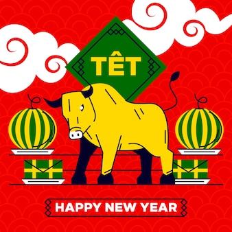 Touro vietnamita de ano novo e melancia