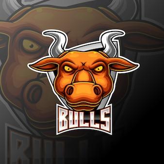 Touros e esporte mascote logotipo design