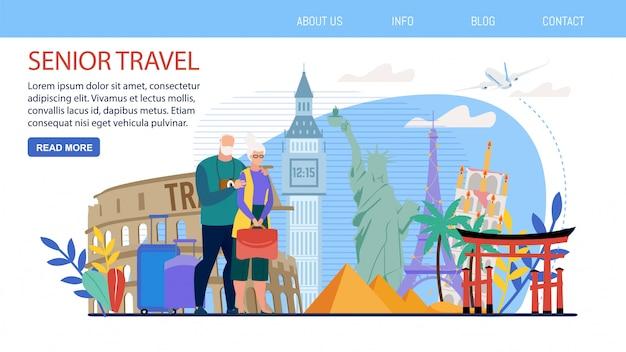 Tours para a página de vetor de pessoas idosas em viagem