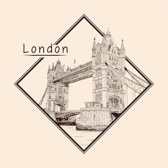 Tower bridge em londres, do outro lado do rio tamisa. desenho a lápis sobre fundo bege. emblema em uma moldura retangular e uma inscrição.