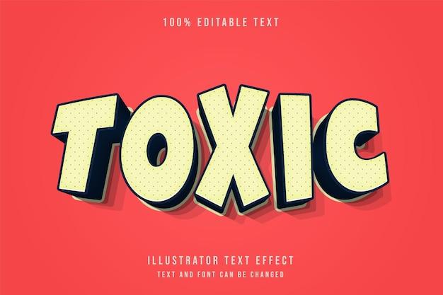 Tóxico, efeito de texto editável em 3d, gradação creme, sombra laranja estilo de texto cômico