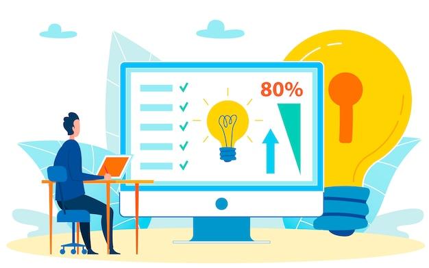 Trabalhador analisando causas crescentes de desempenho