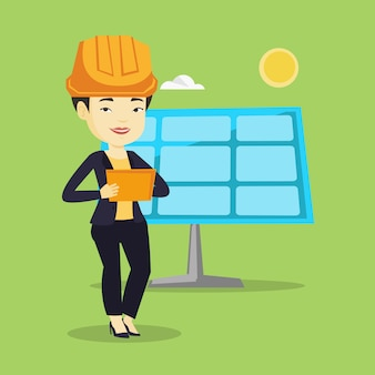 Trabalhador asiático de usina de energia solar.