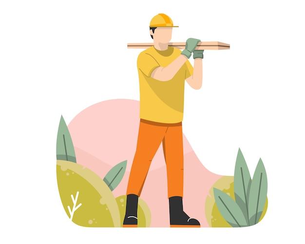 Trabalhador carregando madeira compensada vector plana ilustração