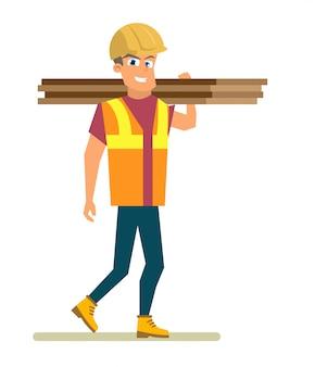 Trabalhador, carregando o vetor plana de materiais de construção