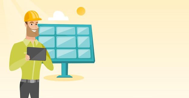 Trabalhador caucasiano da usina de energia solar.