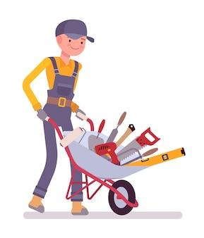 Trabalhador, com, carrinho de mão