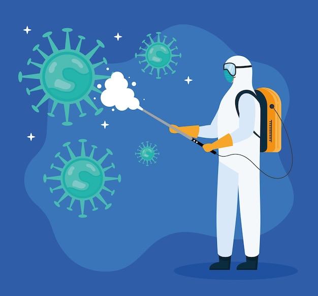Trabalhador com desinfecção de roupa de risco biológico e ilustração de partículas