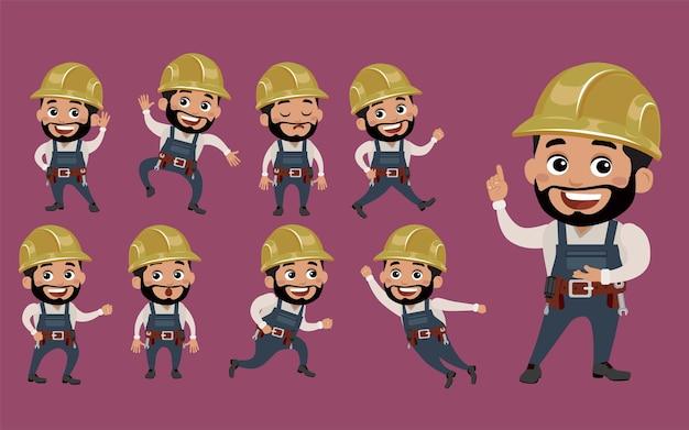 Trabalhador com diferentes poses