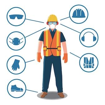 Trabalhador com equipamentos de proteção pessoal e ícones de segurança