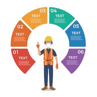 Trabalhador com infográfico de gráfico de círculo