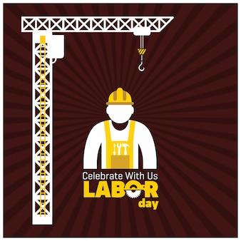Trabalhador, construção, guindaste, vermelho, fundo