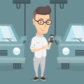 Trabalhador, controlando, automatizado, linha assembléia, para, car