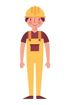 Trabalhador contruction em ilustração vetorial de macacão amarelo