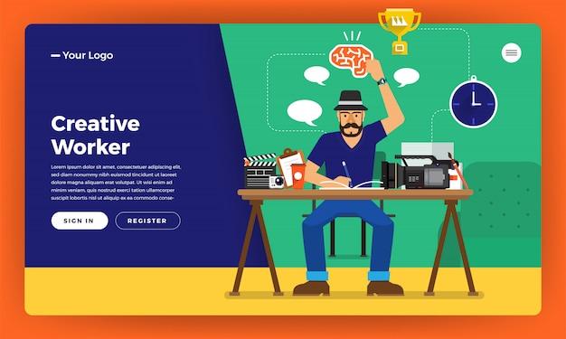 Trabalhador criativo do conceito. ilustrar.