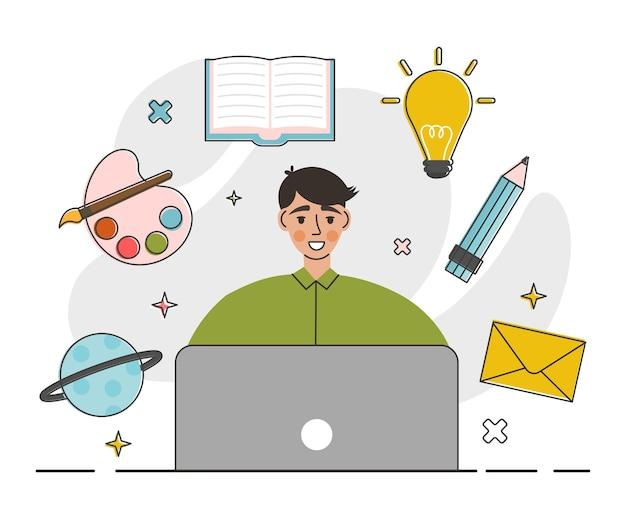 Trabalhador criativo usando dispositivos digitais e programas no projeto
