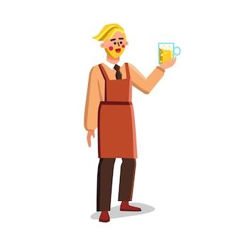 Trabalhador da cervejaria segure o copo com vetor de bebida de cerveja. homem barbudo segurando o copo com bebida alcoólica cerveja cerveja ou cerveja, receita da cervejaria. ilustração de desenho animado do character factory job flat