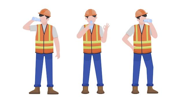 Trabalhador da construção civil bebendo um conjunto de caracteres de água