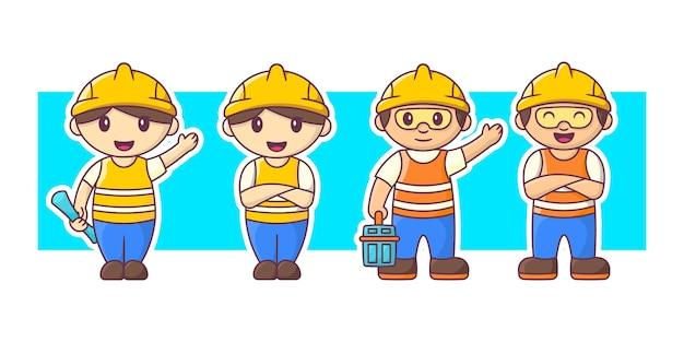 Trabalhador da construção civil com conjunto de ilustração de personagens de equipamentos.