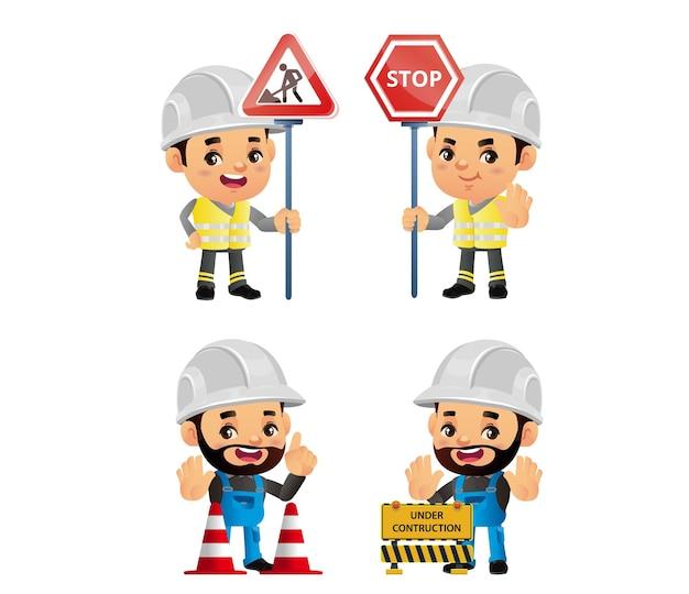 Trabalhador da construção civil com diferentes poses
