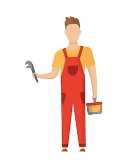 Trabalhador da construção civil com equipamento profissional durante a atividade de construção