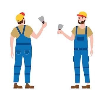 Trabalhador da construção civil com ferramenta de espátula de gesso em vestuário de trabalho. personagem de artesão de vista traseira e frontal