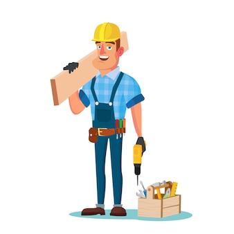 Trabalhador da construção civil com ferramentas
