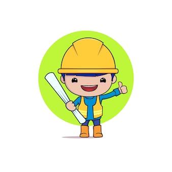 Trabalhador da construção civil com prêmio de vetor de plano de construção