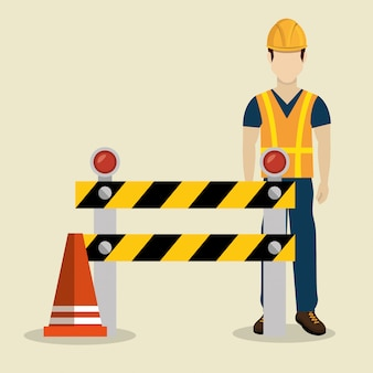 Trabalhador da construção civil com sob ícones de construção