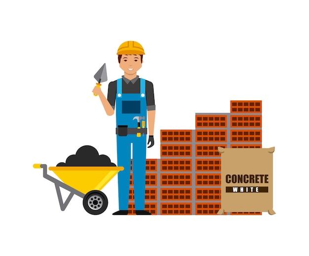 Trabalhador da construção civil com uma parede de tijolos