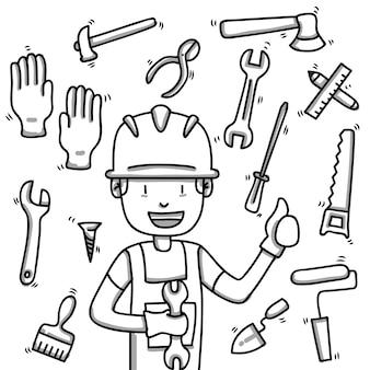 Trabalhador da construção civil e ferramentas