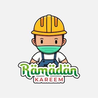 Trabalhador da construção civil fofo com ramadan kareem saudando