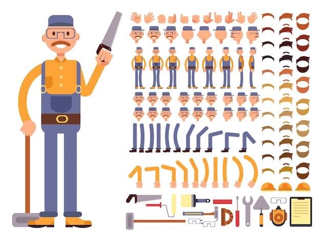 Trabalhador da construção civil homem dos desenhos animados no personagem de vetor de macacão com grande conjunto de partes do corpo