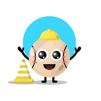 Trabalhador da construção civil, mascote da personagem fofa do beisebol