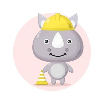 Trabalhador da construção civil rinoceronte logotipo personagem fofa