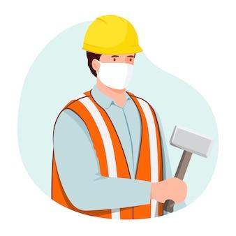 Trabalhador da construção civil usando máscara médica.