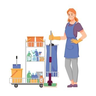 Trabalhador da empresa de limpeza de uniforme com carrinho cheio de esfregões, baldes de detergentes e panos sanitários