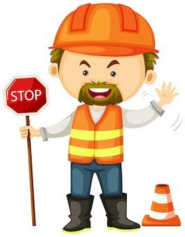 Trabalhador da estrada com o sinal de stop