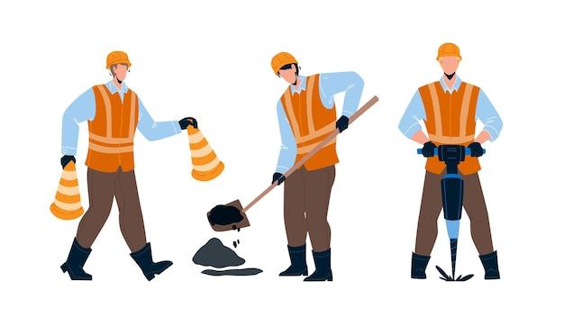 Trabalhador da estrada que repara o vetor de infraestrutura de rua. trabalhador da estrada em cones de transporte de uniforme, furo de perfuração e remendo no asfalto. construtores de personagens trabalhando juntos ilustração plana dos desenhos animados