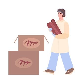 Trabalhador da fábrica de processamento de carne, embalando salsichas em caixas de papelão