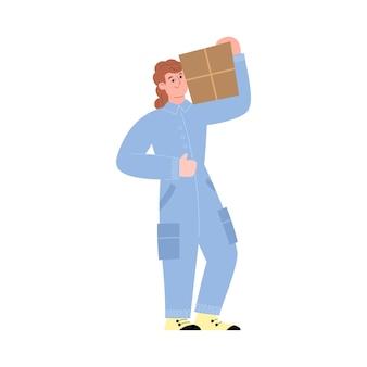 Trabalhador de armazém carrega caixa de papelão no ombro em ilustração vetorial