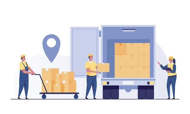 Trabalhador de armazém carregando caixas no caminhão. correio, entregador carregando um recipiente de papelão. pacotes, pacotes no caminhão. trabalhador do armazém.