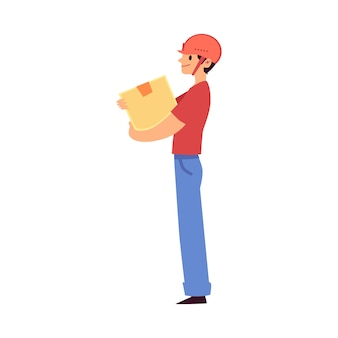 Trabalhador de armazém de desenho animado segurando uma caixa de papelão