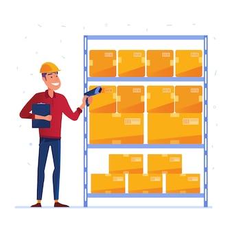 Trabalhador de armazém está verificando as caixas com scanner de código qr