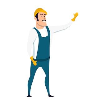 Trabalhador de armazém masculino sorridente personagem permanente