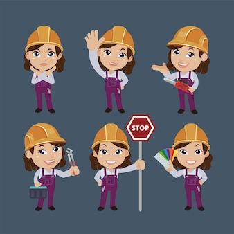 Trabalhador de construção com diferentes poses