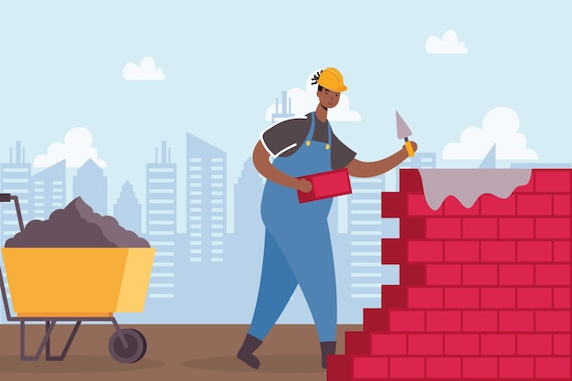 Trabalhador de construtor com desenho de ilustração vetorial de carrinho de mão e cena de parede
